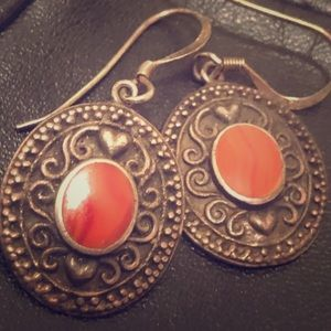 Vintage Sterling Earrings with Red/Coral Stones